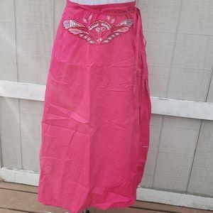 NWT Oilily Fuschia Embroidered Wrap Maxi Skirt